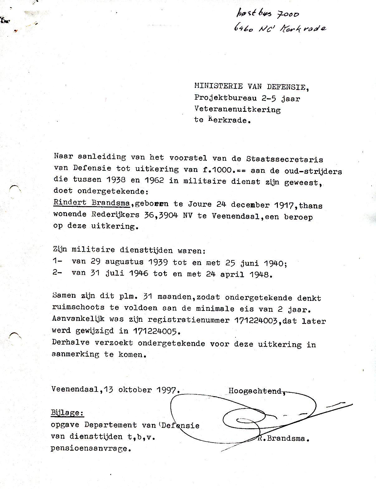 voorbeeldbrief aanvraag Brief aanvraag veteranenuitkering (1997) | Familie Brandsma voorbeeldbrief aanvraag
